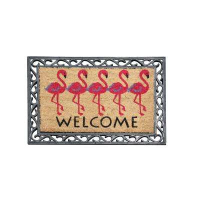 First Impression Flamingo Welcome 24 in. x 36 in. Rubber Coir Door Mat