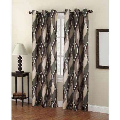 Semi-Opaque No. 918 Casual Intersect Spruce Printed Grommet Top Curtain Panel (Price Varies by Size)