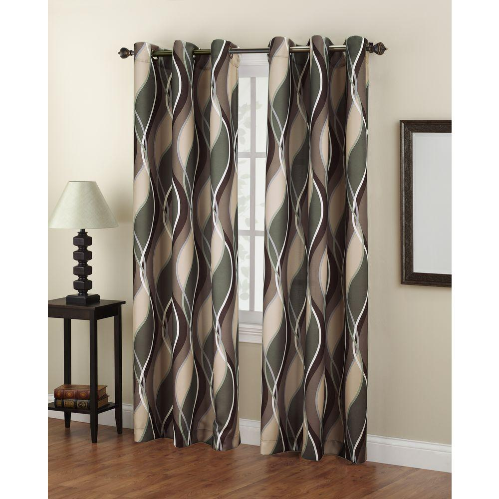 LICHTENBERG Semi-Opaque No. 918 Casual Intersect Spruce Printed Grommet Top Curtain Panel (Price Varies by Size)