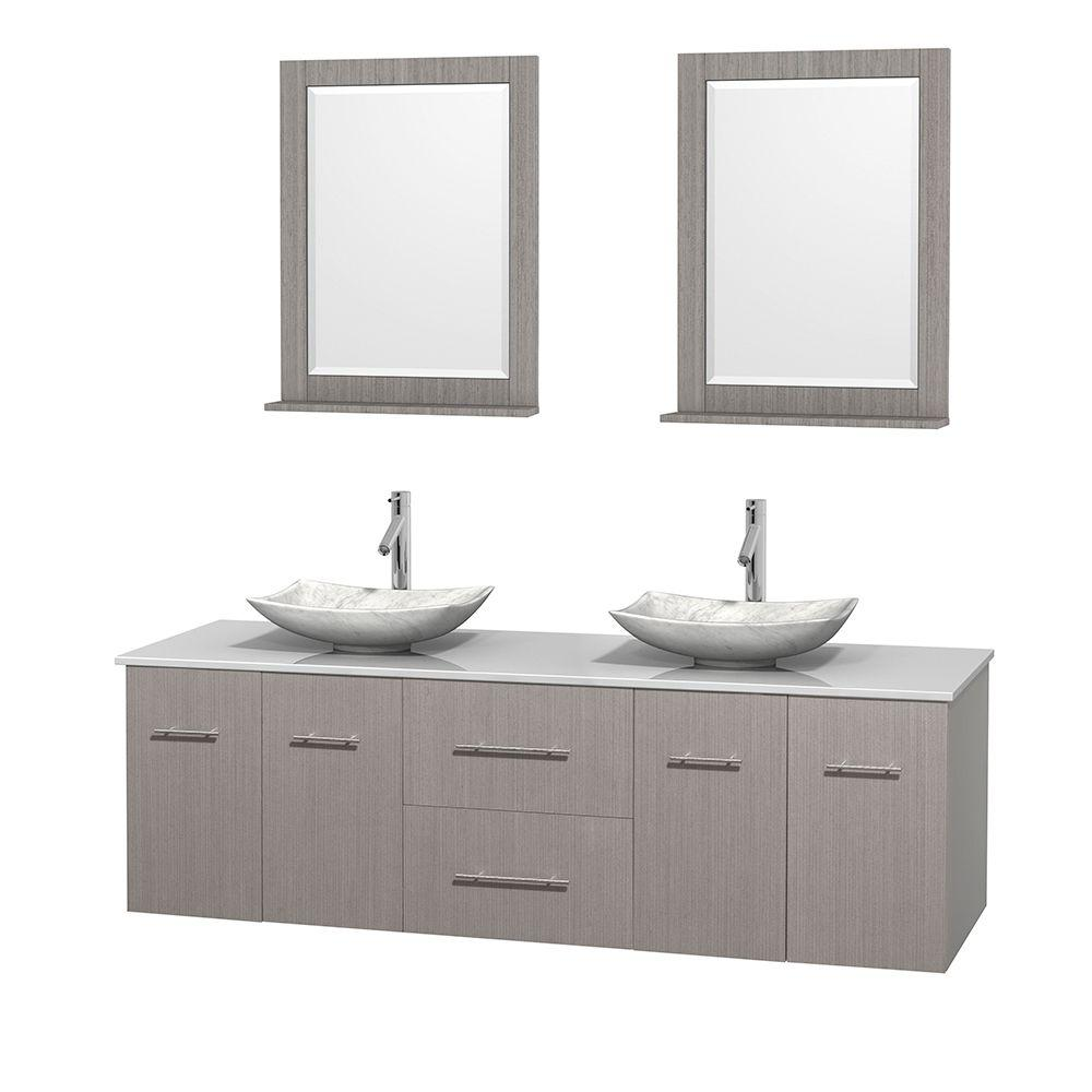 Wyndham Collection Centra 72 in. Double Vanity in Gray Oak with Solid-Surface Vanity Top in White, Carrara Marble Sinks and 24 in. Mirror