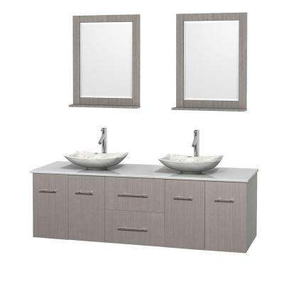 double sink floating vanity. Double Vanity in Gray Oak with Solid Surface Top Floating  Bathroom Vanities Bath The Home Depot
