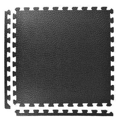 Pebble Top Black 24 in. x 24 in. x 3/4 in. Foam Interlocking Gym Floor Tile (Case of 15)