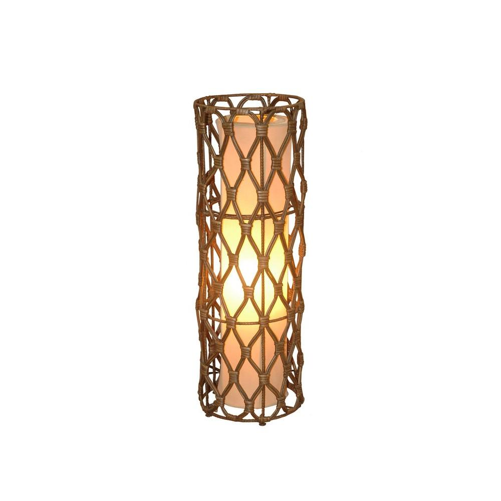 Jeffan Bethany 24 in. Antique Brown Wash Table Lamp With Natural Rattan Weave