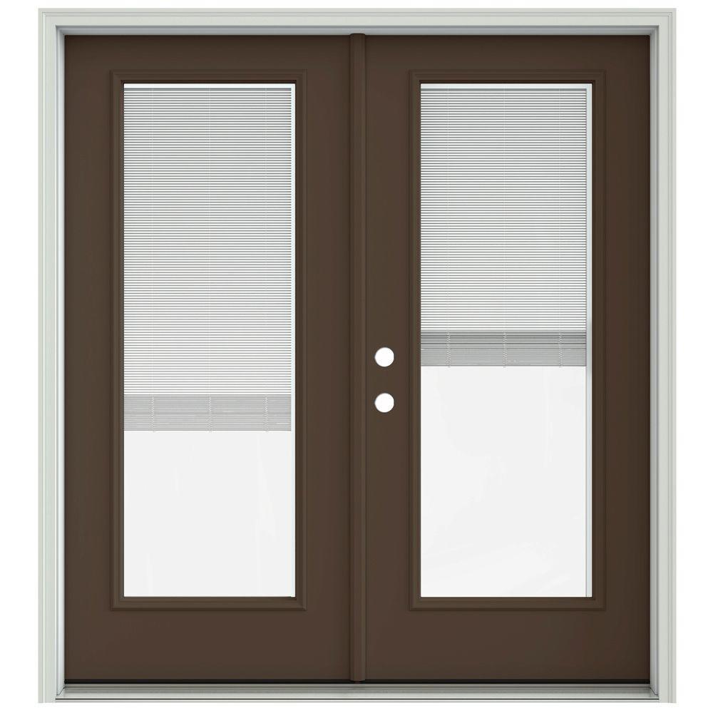 Jeld Wen 72 In X 80 In Dark Chocolate Prehung Right Hand Inswing French Patio Door With