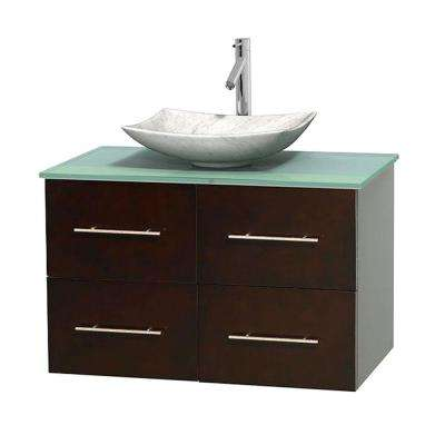 Centra 36 in. Vanity in Espresso with Glass Vanity Top in Green and Carrara Sink