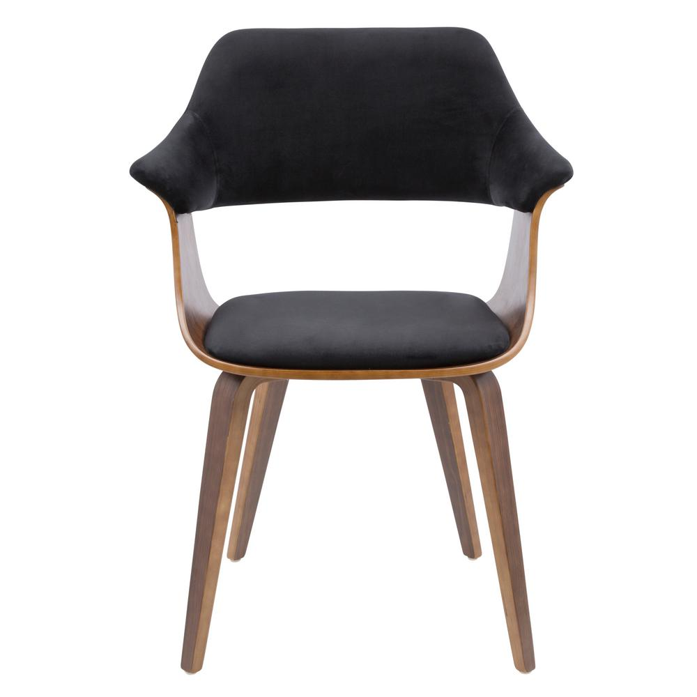 Lumisource Lucci Walnut And Black Velvet Dining Chair Ch Lucci Wl Bk