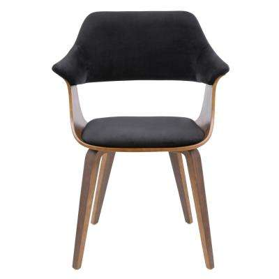Lucci Walnut and Black Velvet Dining Chair
