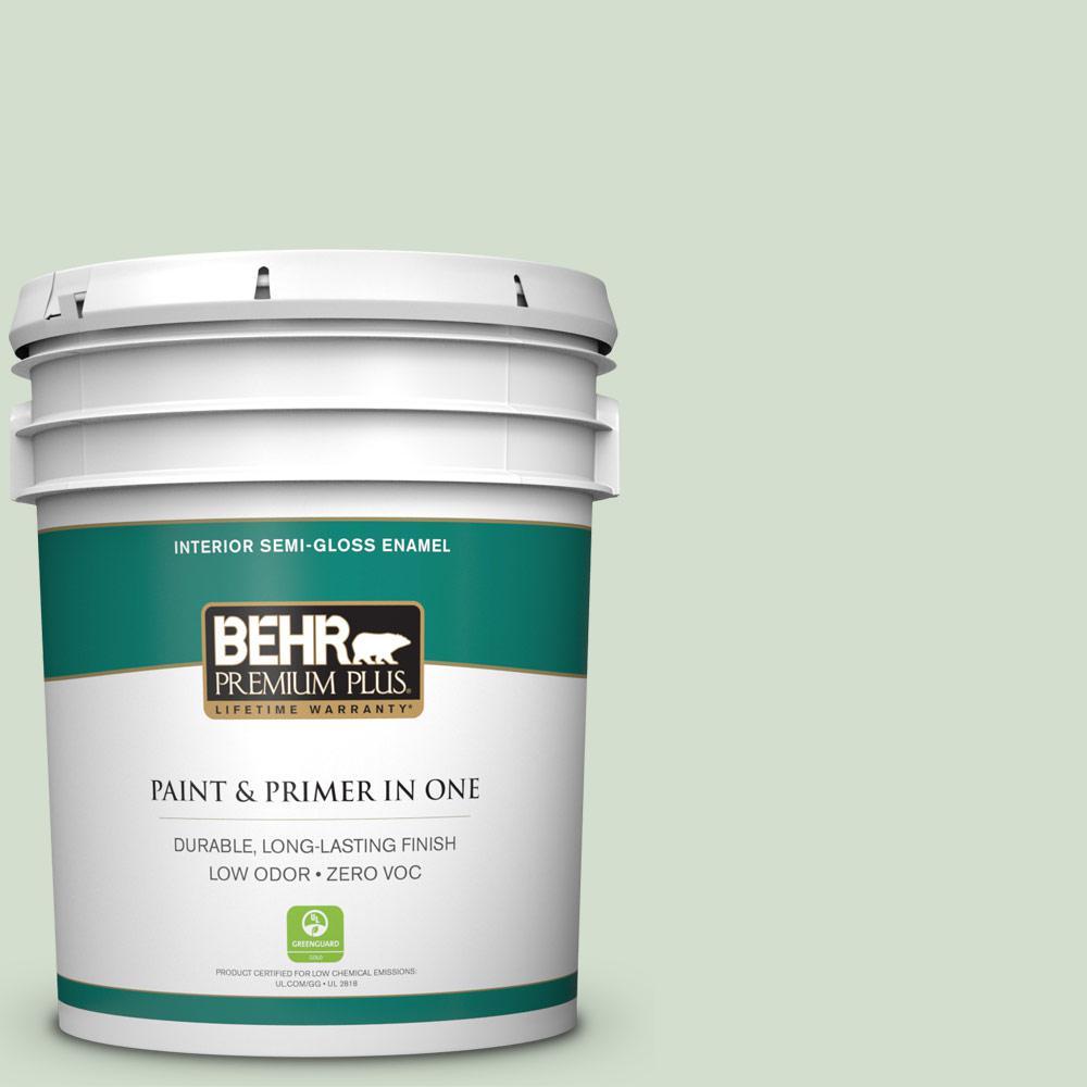 BEHR Premium Plus 5 gal. #440E-2 Herbal Mist Semi-Gloss Enamel Zero VOC Interior Paint and Primer in One