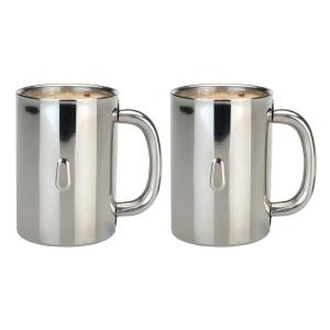 Click here to buy Berghoff Straight Line 12.8 oz. Stainless Steel Coffee Mug (Set of 2) by Berghoff.