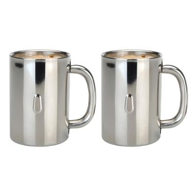 Straight Line 12.8 oz. Stainless Steel Coffee Mug (Set of 2)