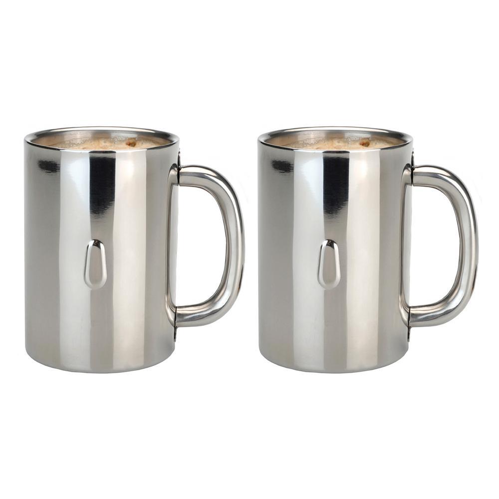 Straight Line 12.8 oz. Stainless Steel Coffee Mug (Set of 2)