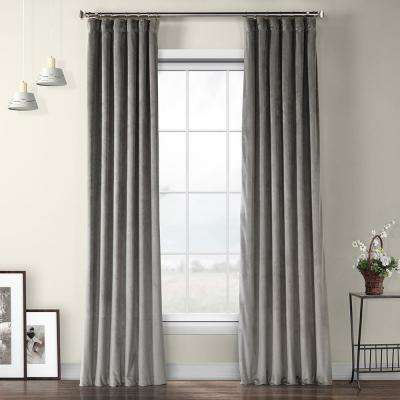 Destiny Grey Plush Velvet Curtain - 50 in. W x 108 in. L