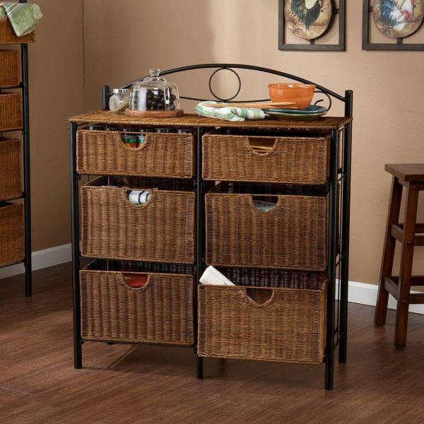 Jerome 6 Drawer Iron And Wicker Storage Cabinet In Black With Caramel