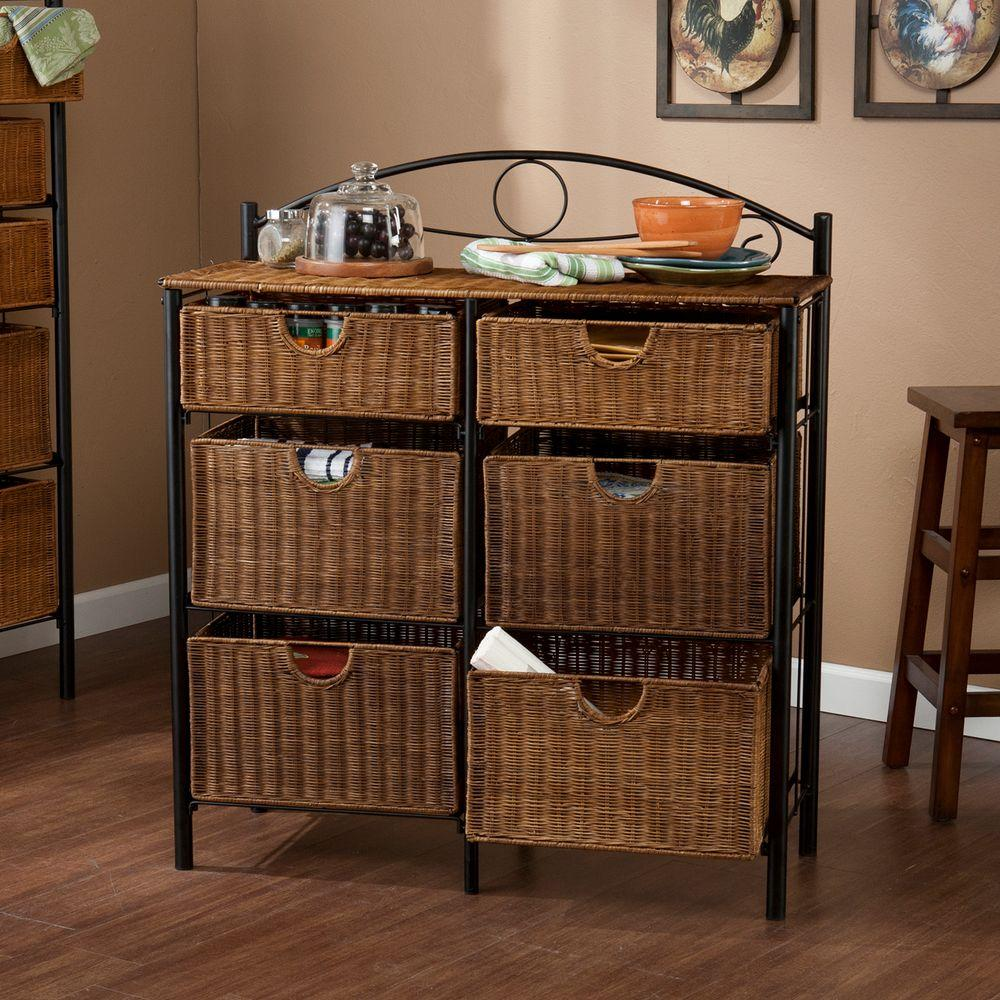 Southern Enterprises Jerome 6 Drawer Iron And Wicker Storage Cabinet In Black With Caramel