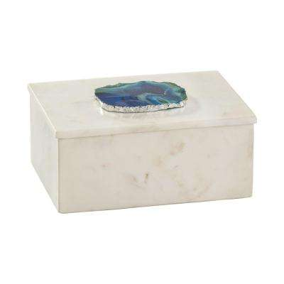 7 in. x 3 in. Marble and Blue Agate Decorative Box