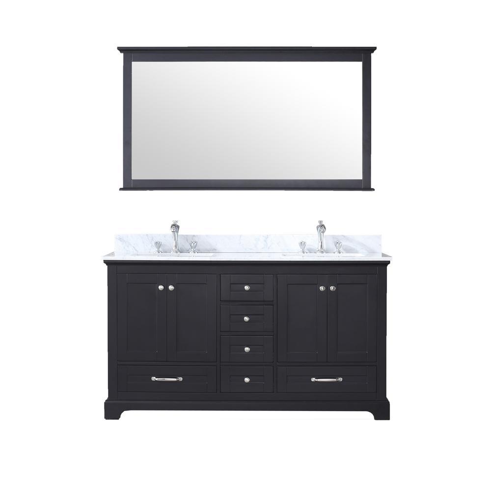 Dukes 60 in. Double Bath Vanity in Espresso w/ White Carrera Marble Top w/ White Square Sinks and 58 in. Mirror