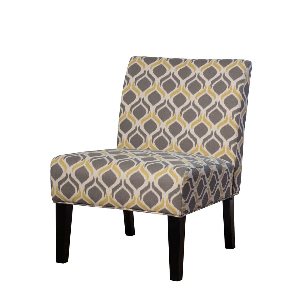 Noble House Galilea Yellow Gray Pattern Fabric Accent Chair
