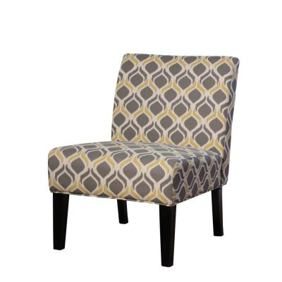 Galilea Yellow/Gray Pattern Fabric Accent Chair