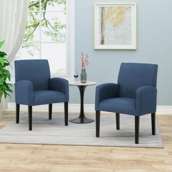 Amnesty Navy Blue and Dark Brown Upholstered Dining Chairs (Set of 2)
