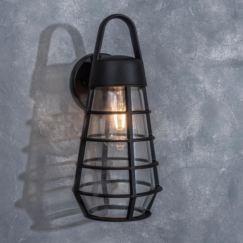 Coastal Portland 1-Light Black Outdoor Wall Lantern Sconce