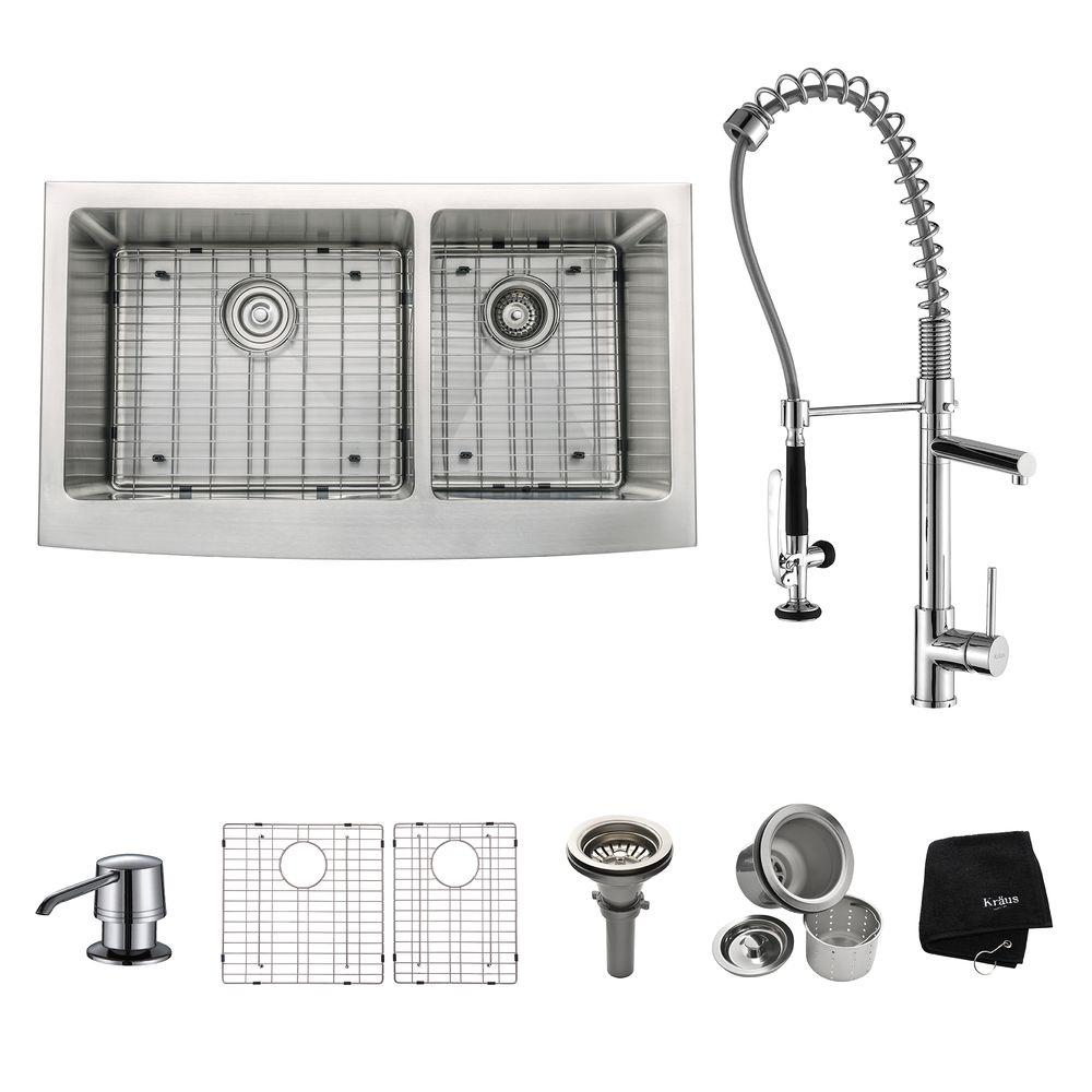 KRAUS All-in-One Farmhouse Apron Front Stainless Steel 36 in. Double ...