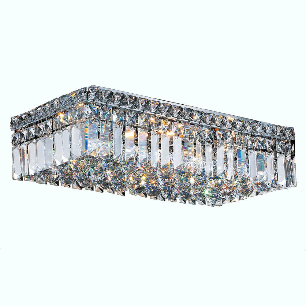 Worldwide Lighting Cascade Collection 4 Light Crystal and Chrome Ceiling Light
