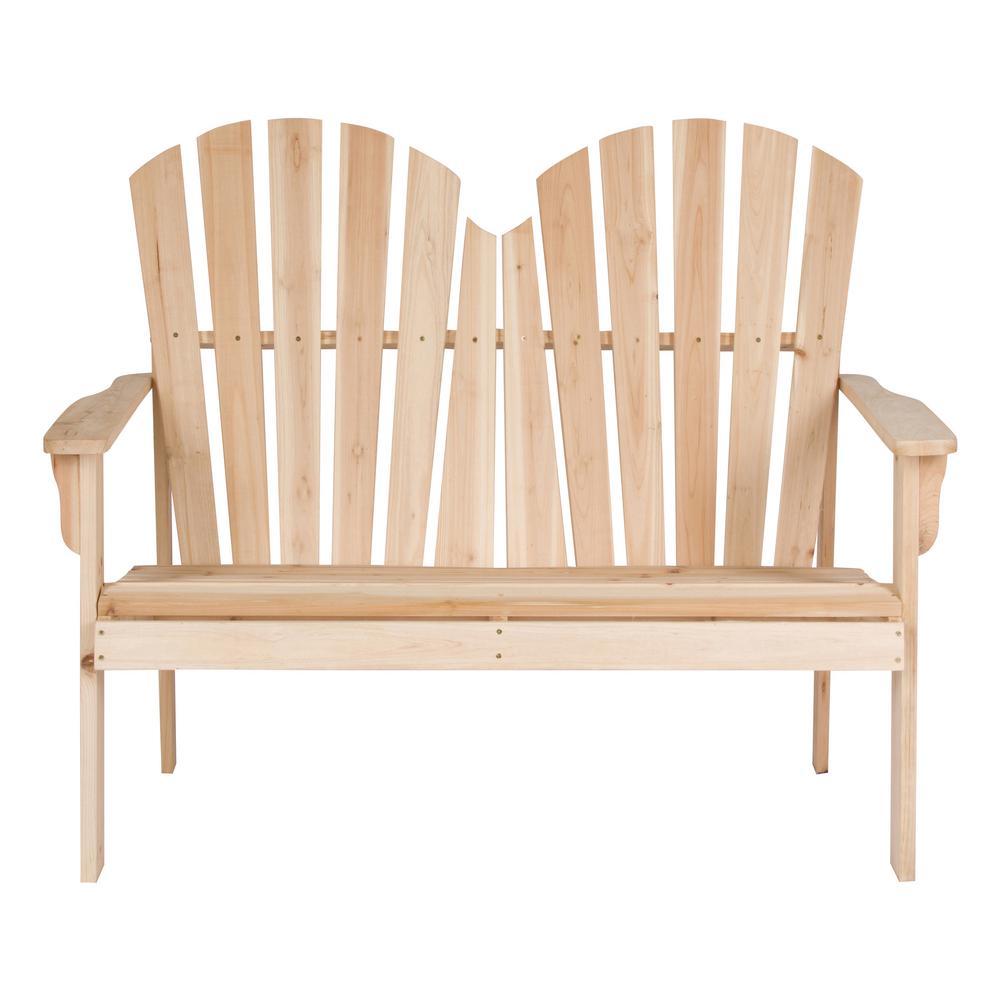 37 in. T Beige Rockport Wood Loveseat Bench
