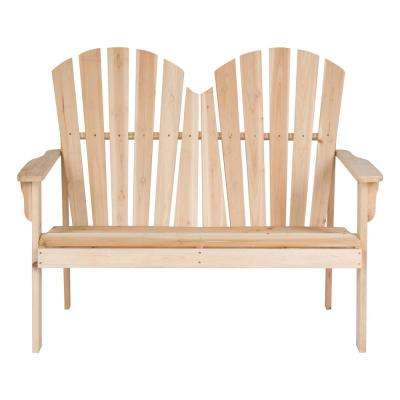 37 in. T Beige Rockport Wood Loveseat Bench