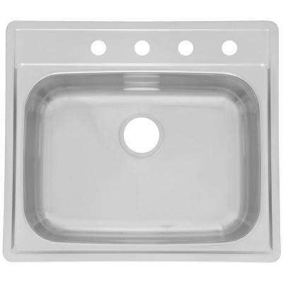 Drop-In Stainless Steel 25.in 4-Hole Single Bowl Kitchen Sink