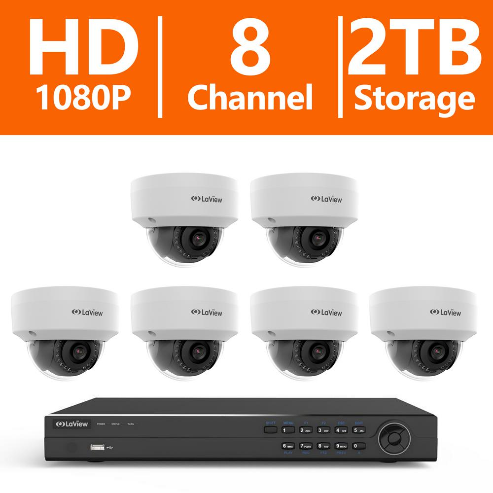 8-Channel Full HD IP Indoor/Outdoor Surveillance 2TB NVR System (6) Dome