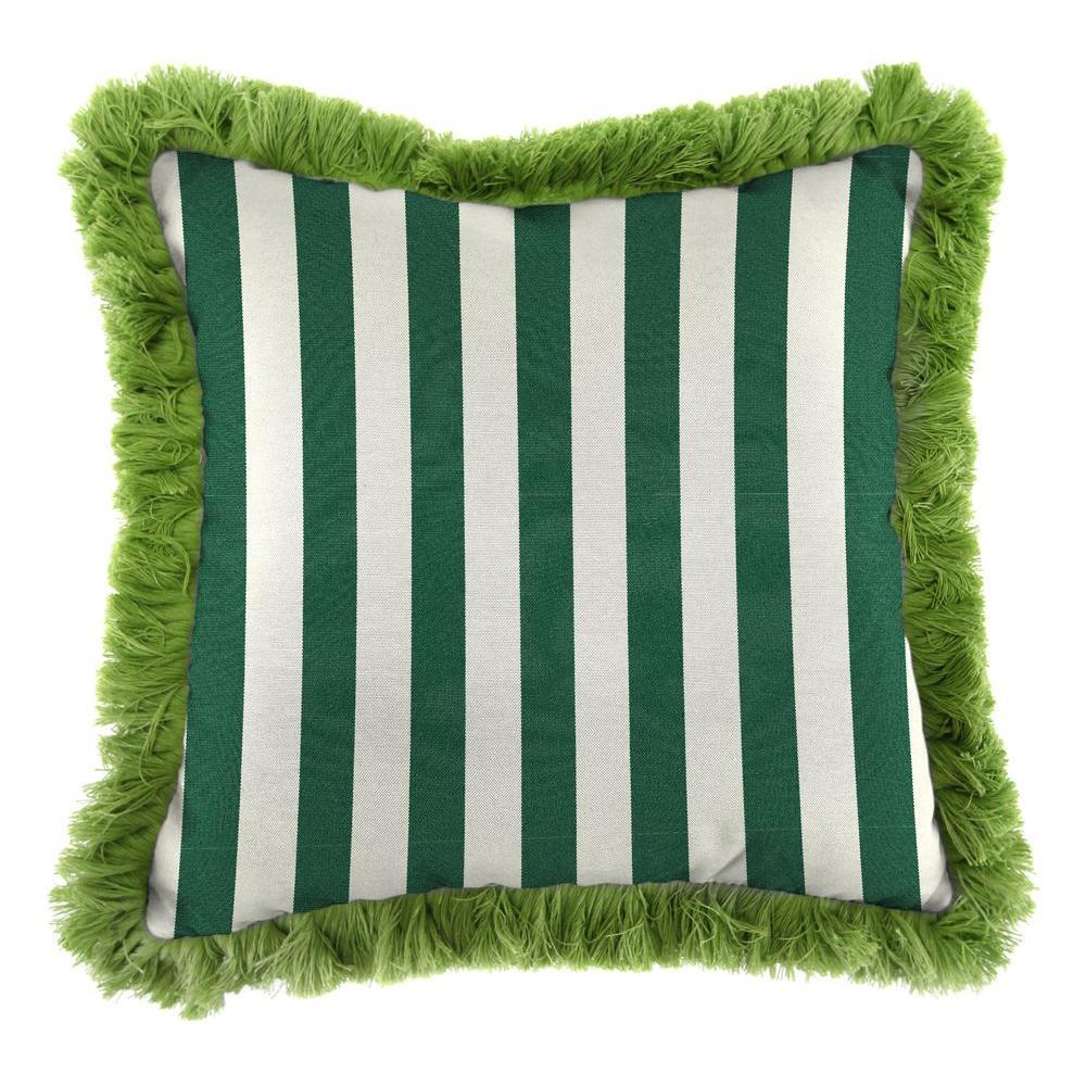 Jordan Manufacturing Sunbrella Mason Forest Green Square Outdoor Throw Pillow with Gingko Fringe