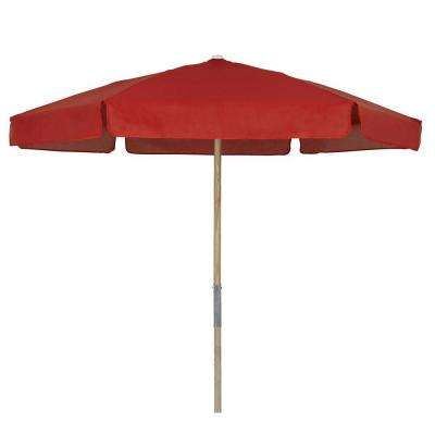 7.5 ft. Wood Beach Patio Umbrella with Red Vinyl Coated Weave