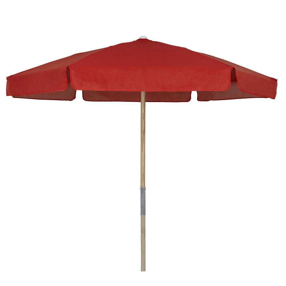null 7.5 ft. Wood Beach Patio Umbrella with Red Vinyl Coated Weave