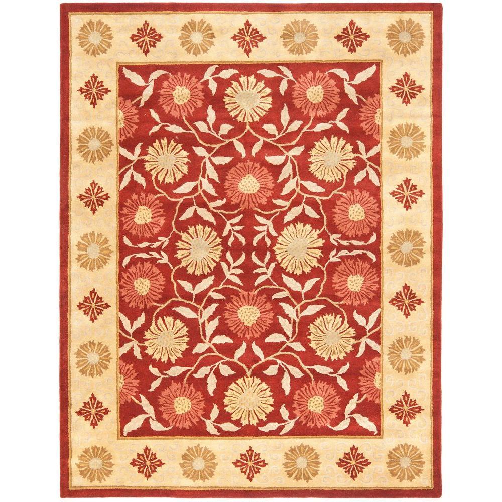 6 X9 Handmade Persian Wool Silk Area Rug Oriental Design: Safavieh Heritage Red/Beige 7 Ft. 6 In. X 9 Ft. 6 In. Area
