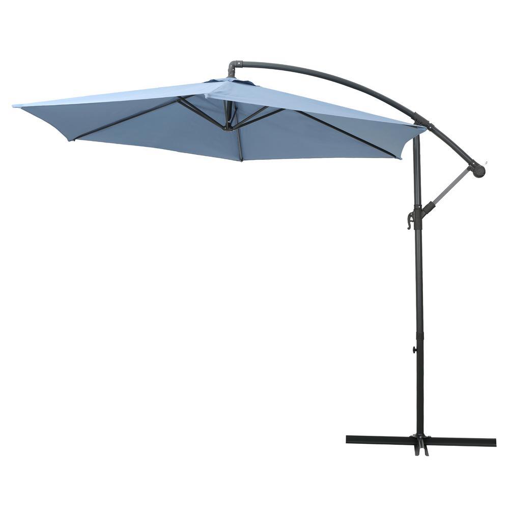 Marineland 9.86 ft. Iron Cantilever Tilt Patio Umbrella in Lavender