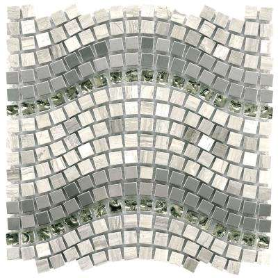 Tessera Wave Mercury 11-3/4 in. x 12-1/4 in. x 8 mm Glass, Stone and Metal Mosaic Tile