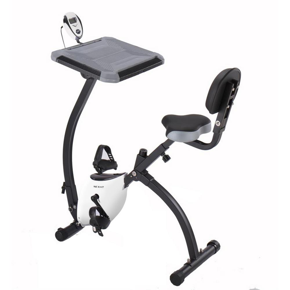 Marvelous Nexht X Magnetic Collapsible Fitness Exercise Cycling Bike In Grey And White With Magnetic Resistance And Desk Short Links Chair Design For Home Short Linksinfo