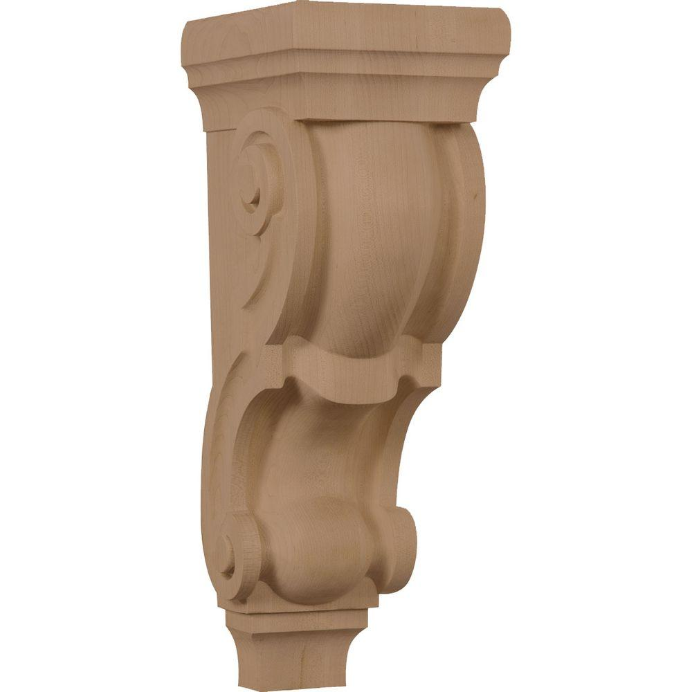 Ekena Millwork 7-1/2 in. x 6 in. x 18 in. Unfinished Wood Rubberwood Extra Large Traditional Corbel