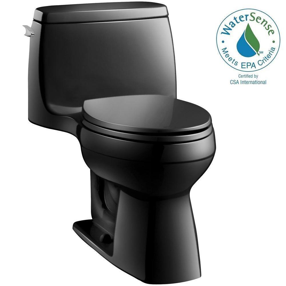 KOHLER Santa Rosa Comfort Height 1-piece 1.28 GPF Single Flush Compact Elongated Toilet with AquaPiston Flush in Black Black