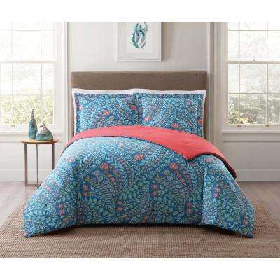 Jaclyn Geo Blue King Comforter Set