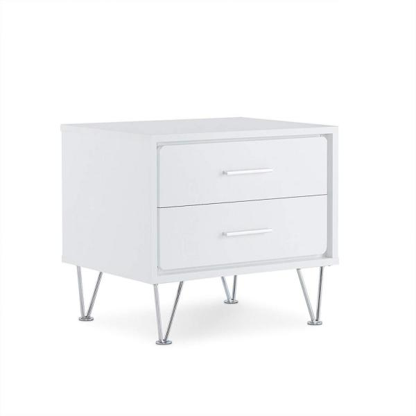 Contemporary White 2-Drawers Wooden Nightstand