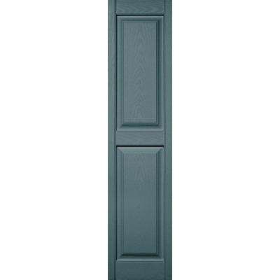 15 in. x 63 in. Raised Panel Vinyl Exterior Shutters Pair in #004 Wedgewood Blue