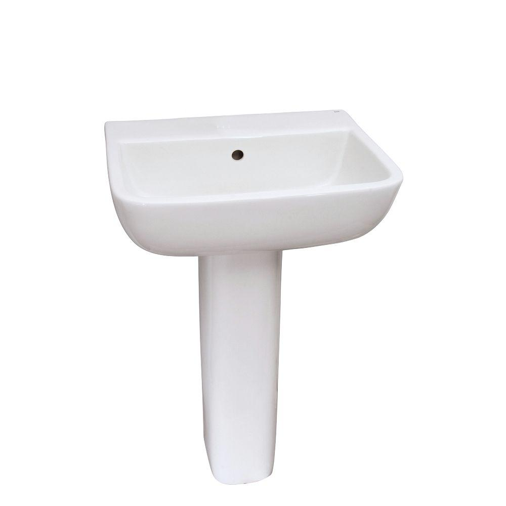 Barclay Products Series 600 20 in. Pedestal Combo Bathroom Sink for 8 in. Widespread in White