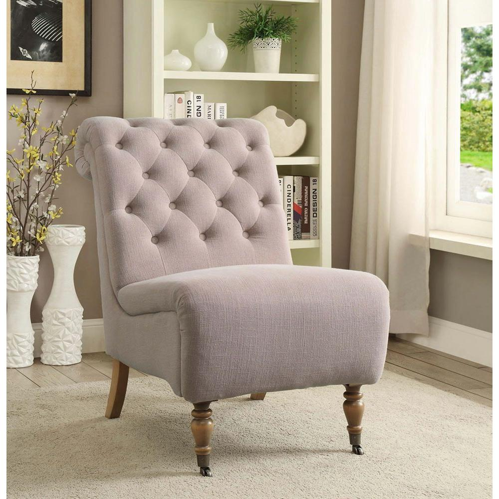 linon home decor cora washed taupe linen roll back side chair 368255taup01u the home depot. Black Bedroom Furniture Sets. Home Design Ideas