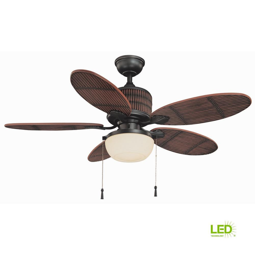 Home Decorators Collection Tahiti Breeze 52 In Led Indoor Outdoor Natural Iron Ceiling Fan