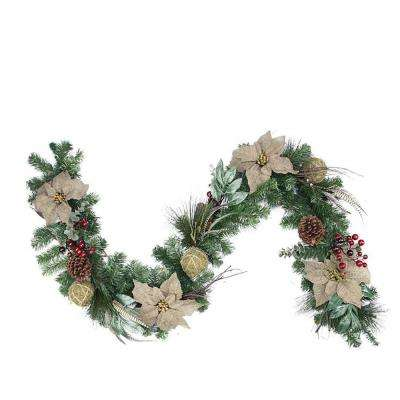 6 ft. x 10 in. Unlit Autumn Harvest Burlap Poinsettia Moss Ball Mixed Pine and Berries Fall Garland