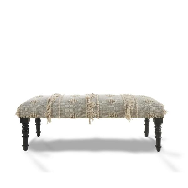 Intricate Embroidery Blue/Cream Indoor Upholstered Bench