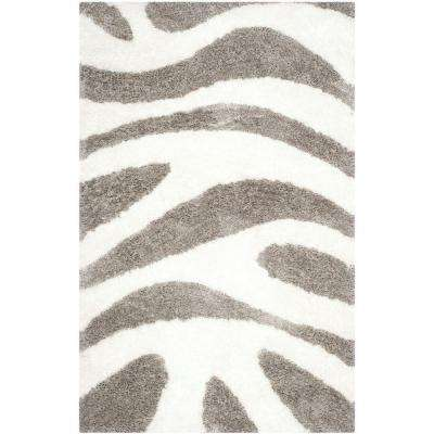 Barcelona Shag Ivory/Silver 5 ft. x 8 ft. Area Rug