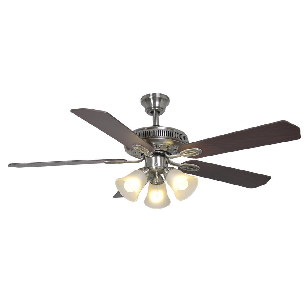 Hampton Bay Glendale 52 In Indoor Brushed Nickel Ceiling Fan With Light Kit