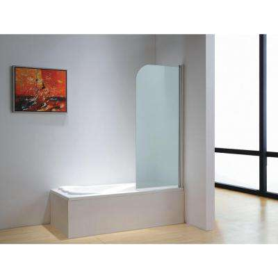 30 in. x 59 in. Frameless Pivot Tub Door in Chrome